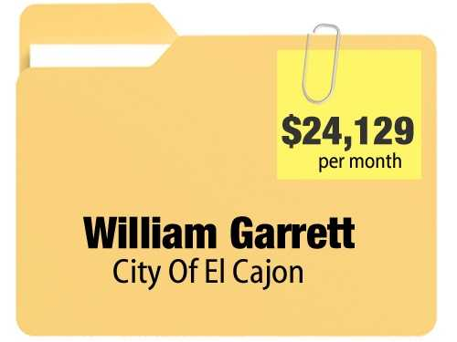 No. 5: William Garrett receives a $24,129.46 a month for annual $289,553.52 pension from the city of El Cajon.