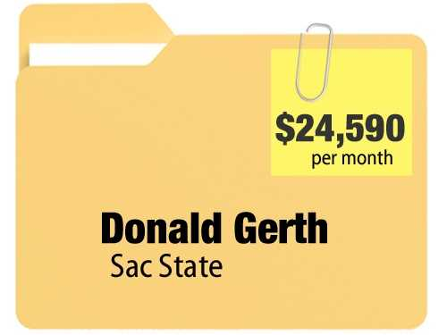 No. 4: Donald Gerth receives $24,590.52 a month for an annual $295,086.24 pension from California State University, Sacramento.