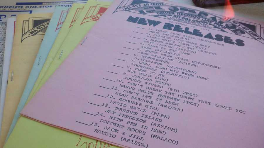 "A list of new releases at Tower Records from Dec. 30, 1977.  Top of the list: ""Theme for Close Encounters."""