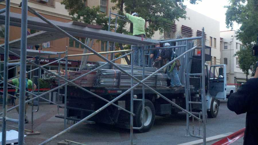 On Monday, construction crews began building a mysterious structure next to the cathedral on 11th and K streets. It's a part of the Cut Your Cubes campaign (June 25, 2012).