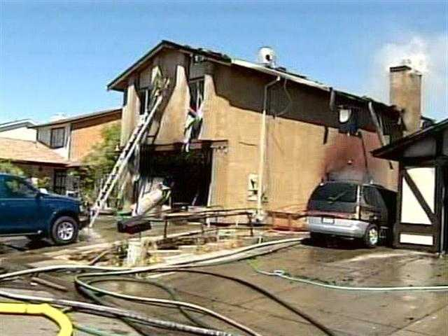 The fire was fought from outside the homes.
