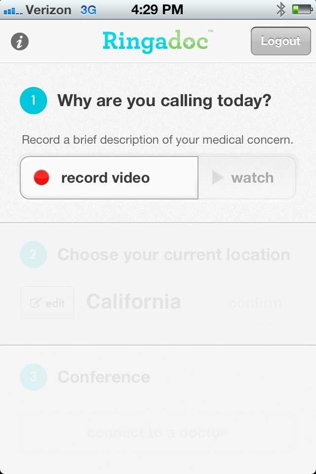 Patients first record a video to be sent to a doctor.
