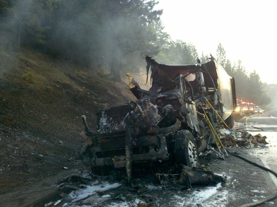 Firefighters arrived to a dramatic scene in Placer County, with the big rig engulfed in flames (July 2, 2012).