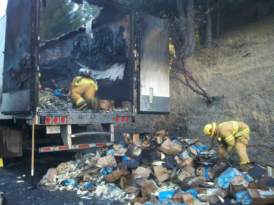 Interstate 80 was shut down near Colfax on Monday morning as smoke and flames spewed from a truck and its trailer (July 2, 2012).