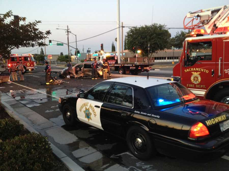 Four people were taken to a hospital after a car crash at the corner of Franklin and Martin Luther King Jr. boulevards Monday morning (July 2, 2012).