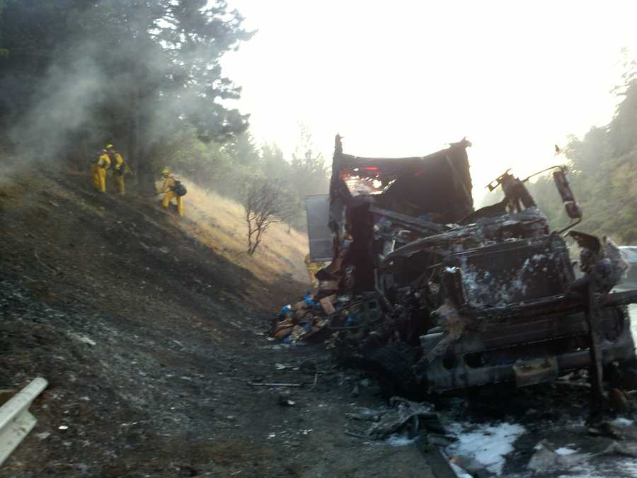 Some brush caught on fire from the truck's flames, but no neighborhoods were endangered (July 2, 2012).