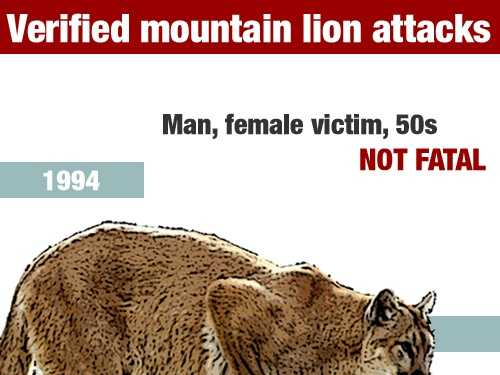 In August 1994, a male and female victim, both in their 50s, were injured in a mountain lion attack in MendocinoCounty.