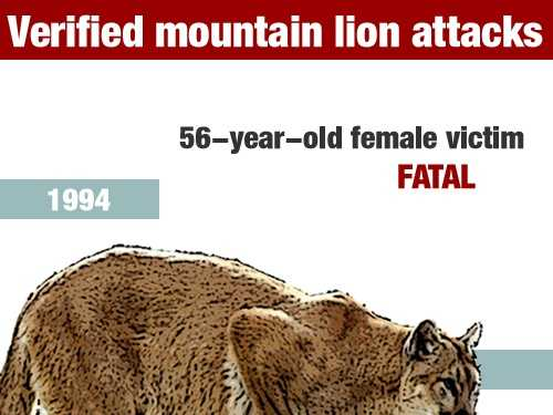 In December 1994, a 56-year-old woman died in a mountain lion attack in San Diego County at Cuyamaca State Park.