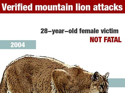 In June 2004, a 28-year-old woman was injured in a mountain lion attack in TulareCounty at theSequoia National Forest.