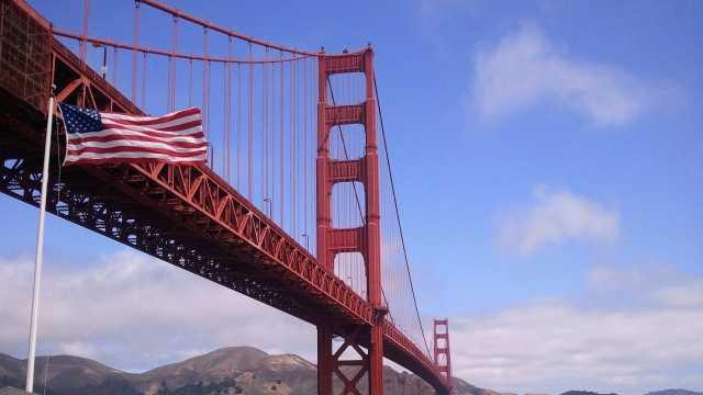 Golden Gate Bridge Flag Photo