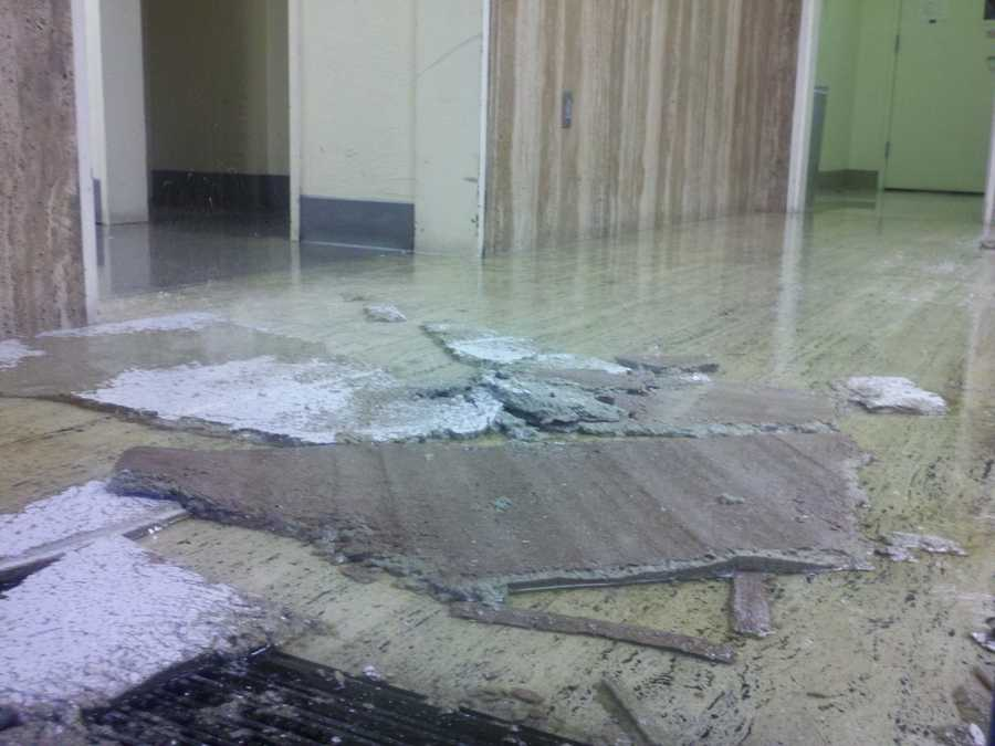 A water leak has flooded the first and second floors of the AT&T building in downtown Sacramento (July 3, 2012).