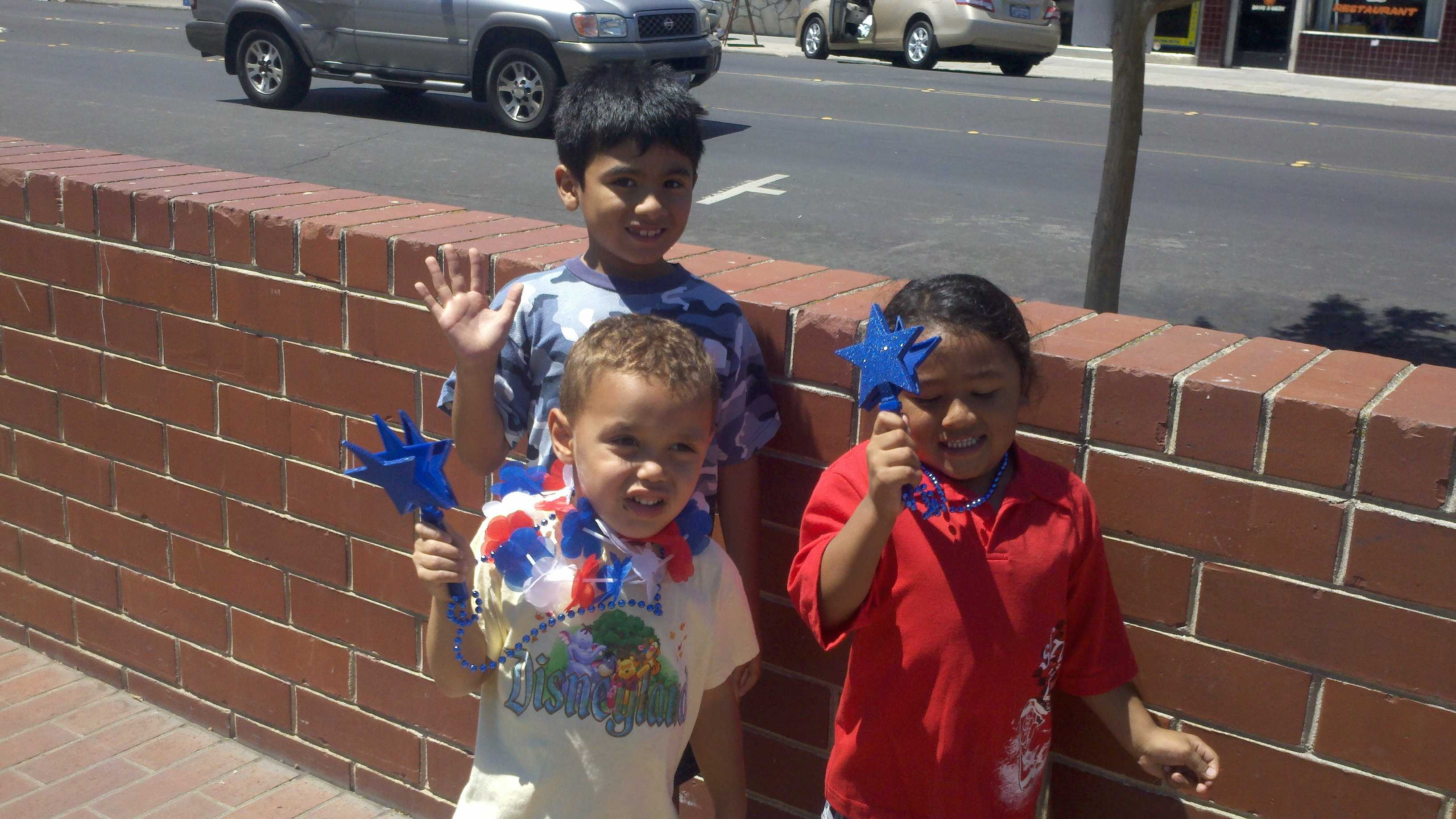 Children celebrate a traditional July 4 parade in Stockton.