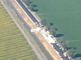 A crash Friday morning blocked the north and southbound lanes of Highway 113 in Sutter County, the California Highway Patrol said. It's believed by police that a big rig driver was unable to stop in a construction area, and slammed into several vehicles (July 6, 2012).