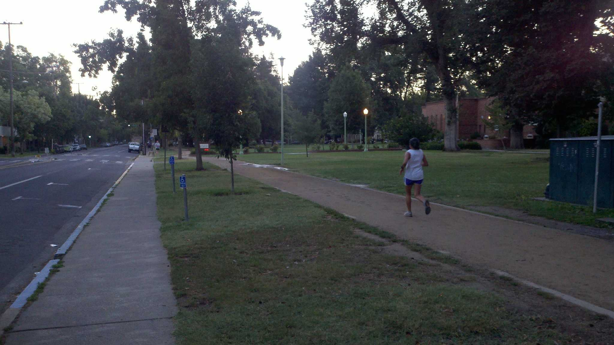 Some runners were out earlier than usual Wednesday morning, before the hot temperatures crept in (July 11, 2012).