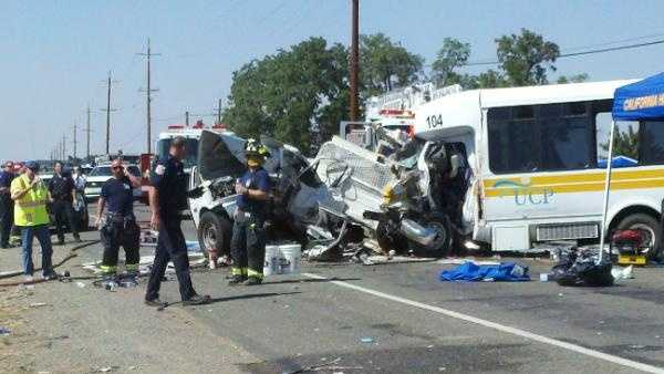 Three people died when a van carrying people with cerebral palsy and a truck crashed head on, said the California Highway Patrol.