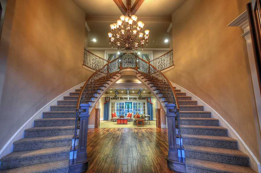 The entry way features this double staircase.