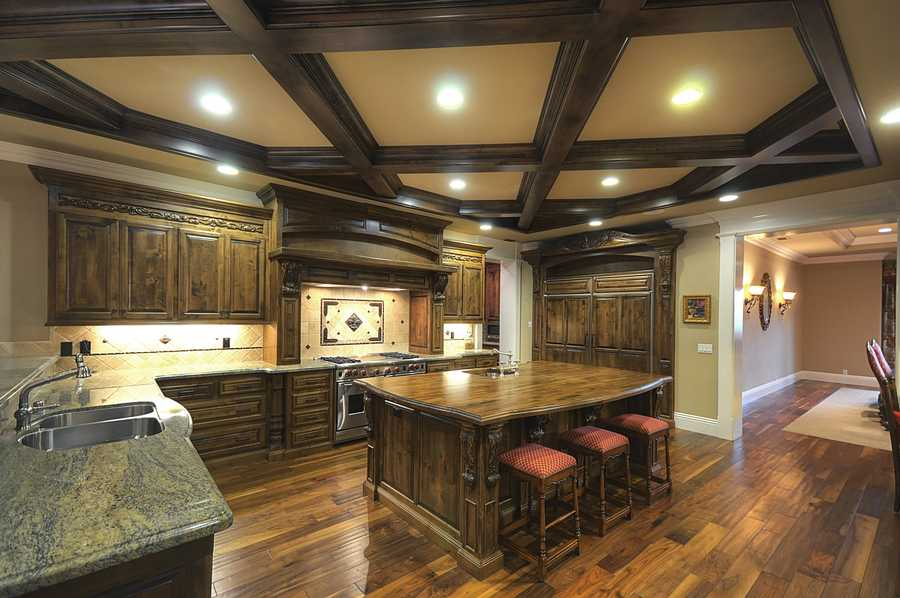 The home's kitchen is equipped with professional-grade appliances.