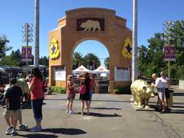 A couple stops to pose with a golden grizzly bear.