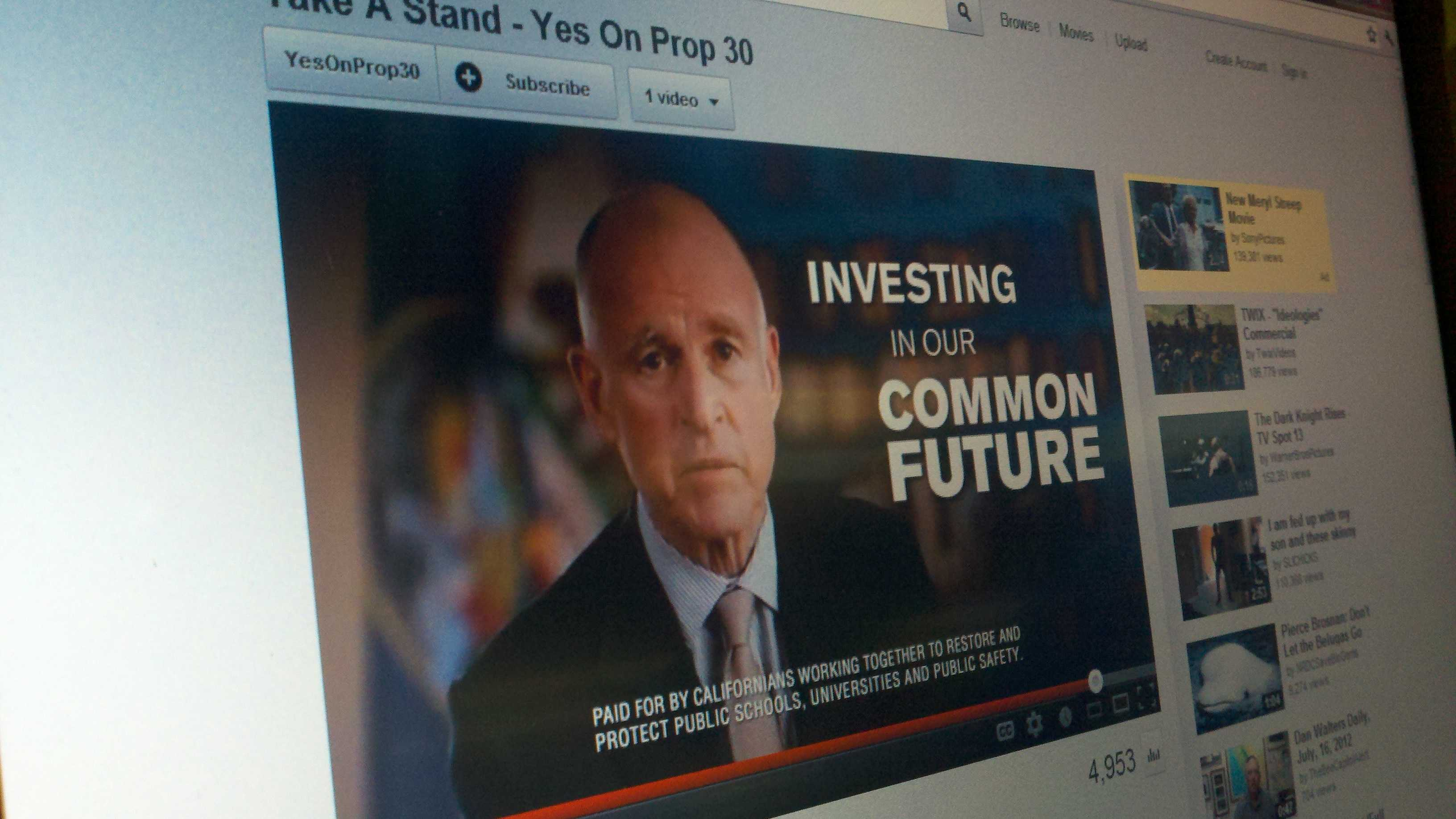 Gov. Jerry Brown appears in an online advertisement in support of Proposition 30.