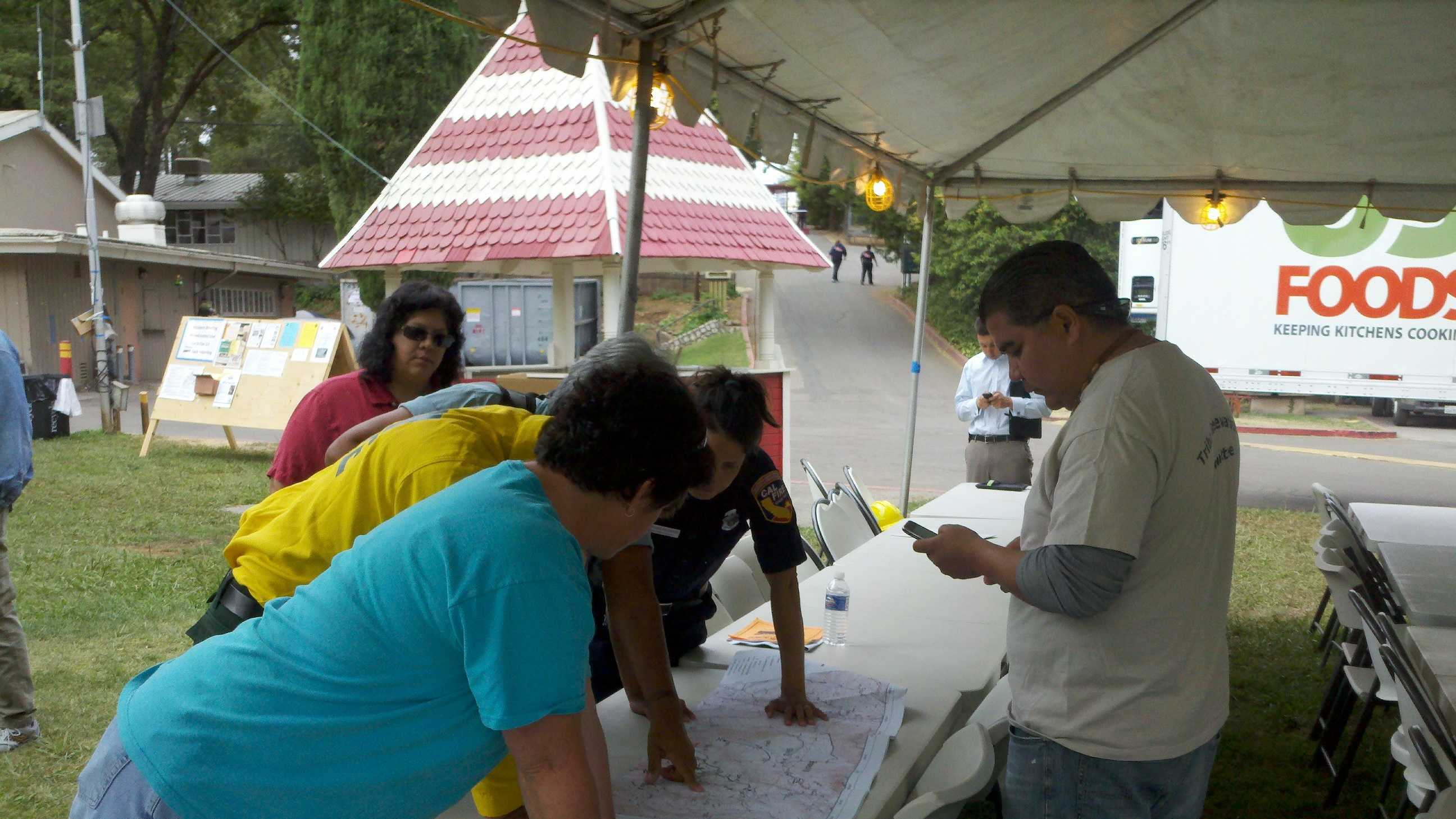 Members of the United Auburn Indian Community review Cal Fire maps (July 19, 2012).
