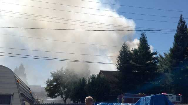 A KCRA Insider sent in this photo of smoke rising from an apartment complex fire in Orangevale.