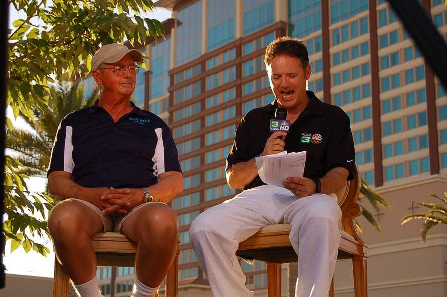 Mike Brown of the Dos Rios Divers chats with Walt Gray on the Olympic Zone.
