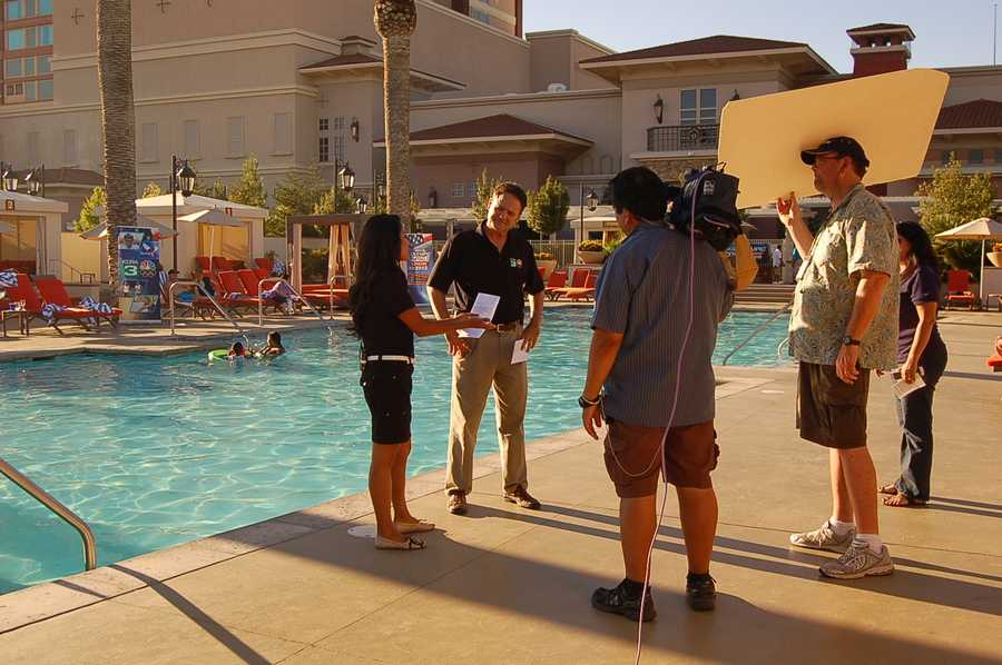 Walt, Mae Fesai and the crew during the KCRA Olympic Zone show at Thunder Valley Casino Resort.