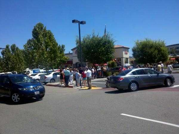 """Thousands gathered at the Chick-fil-A restaurant in Roseville on Wednesday for """"Chick-fil-A Appreciation Day."""""""
