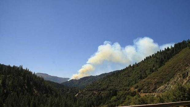 The Chips fire burning in Plumas National Forest.