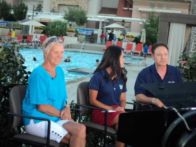 Debbie Meyer visits the set of the show again as the swimming sports start two wrap up and we move into track and field.