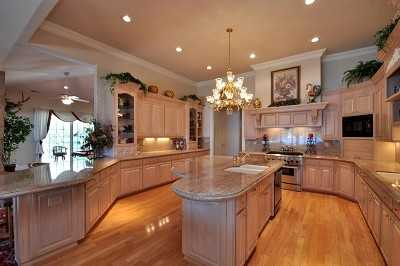Here's a peek inside the kitchen, which is equipped with an island.