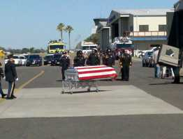 The remains of 25-year-old National Guard soldier who died in Afghanistan arrived at the Modesto airport Tuesday morning.