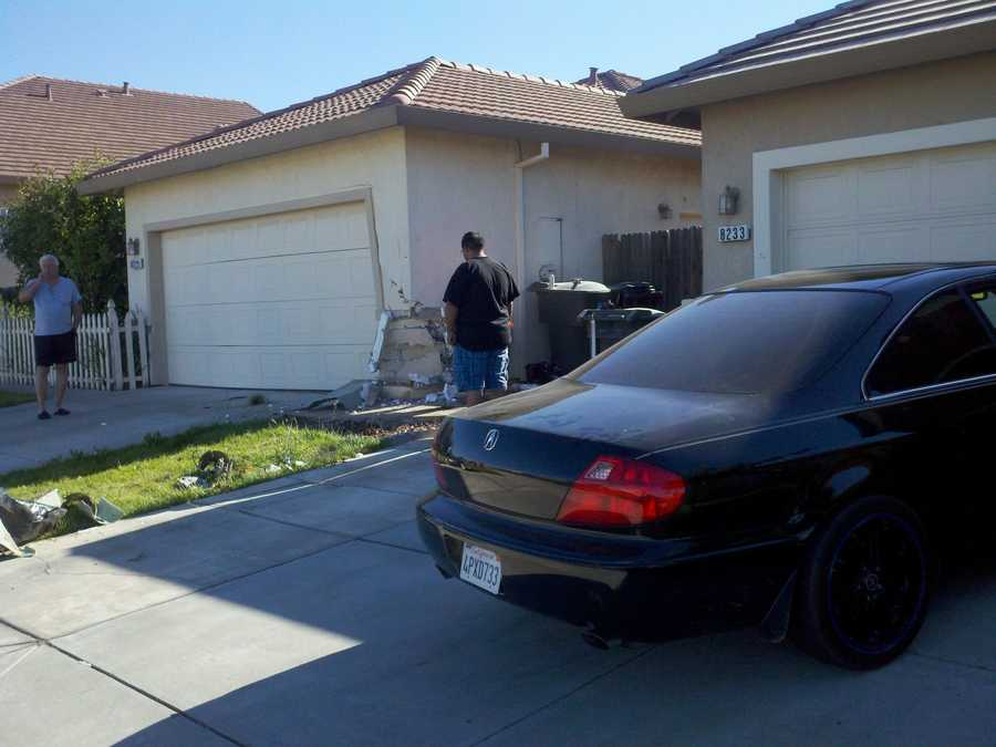 A car slammed into a Sacramento County home Tuesday morning after the person behind the wheel accidentally accelerated instead of breaking, the California Highway Patrol said.