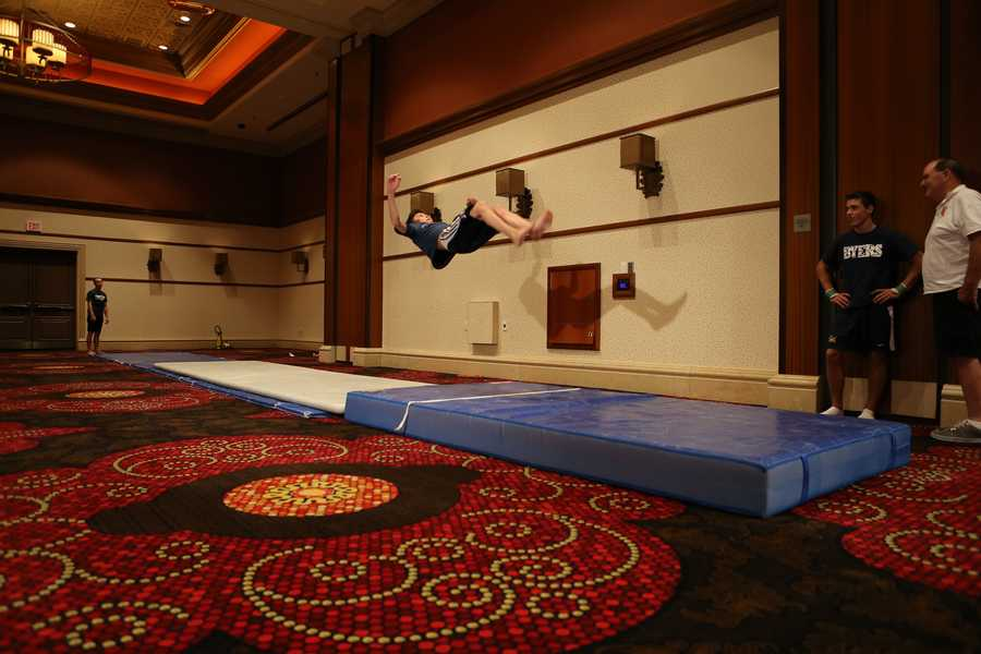 A gymnast doing tumbling.
