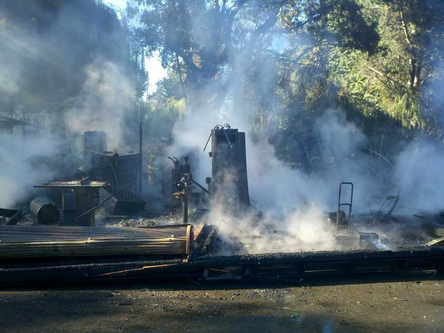 A fully involved structure fire just west of Interstate 5 erupted at the Tower Park Marina outside of Lodi.