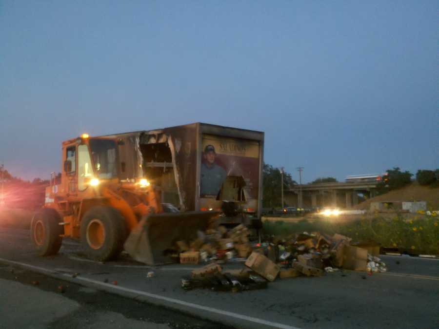 A big rig fire led to boxes of loose lemons, tomatoes, green peppers and tuna to being strewn across the on ramp to highway 99 near French Camp road.