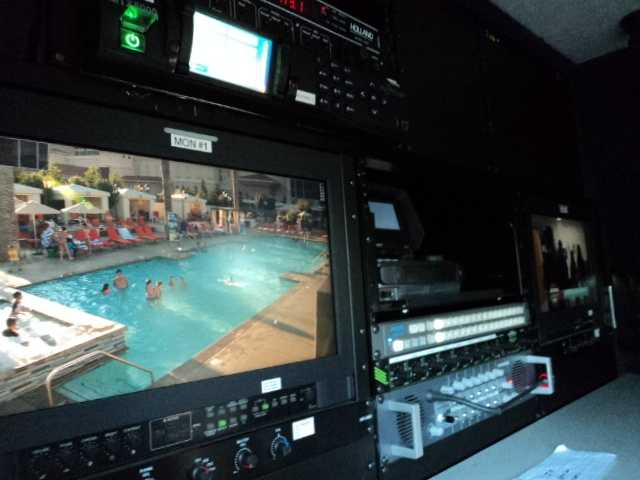 A quick look inside on of the live trucks at the Olympic Zone.