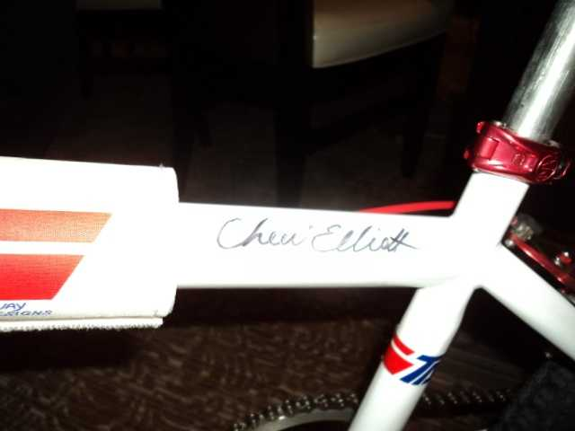 Cheri's signature on the bike.