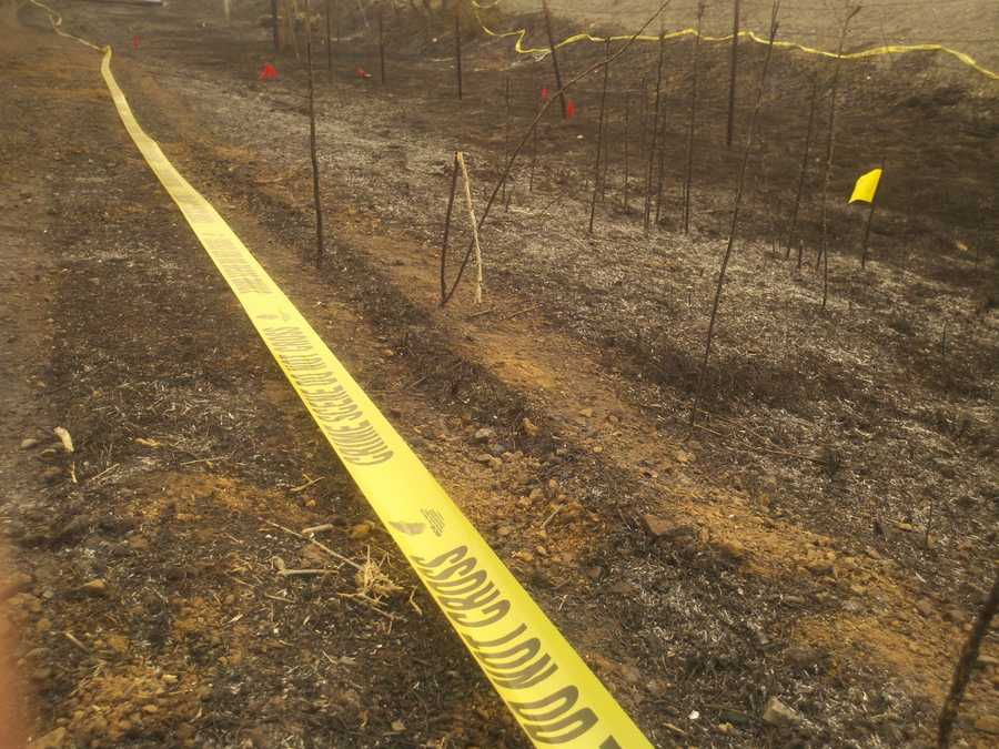 Crime scene tape surrounds an area along road near the intersection of highways 20 and 53.