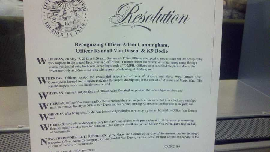 The resolution is posted at City Hall, which recognizes officer Van Dusen for his public service.