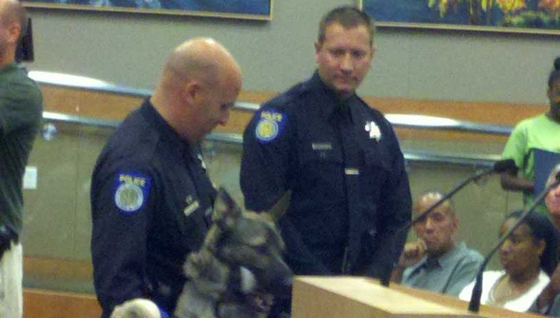 Two officers, and the Sacramento police dog that was shot in the line of duty in May, were honored Tuesday during a Sacramento City Council meeting.
