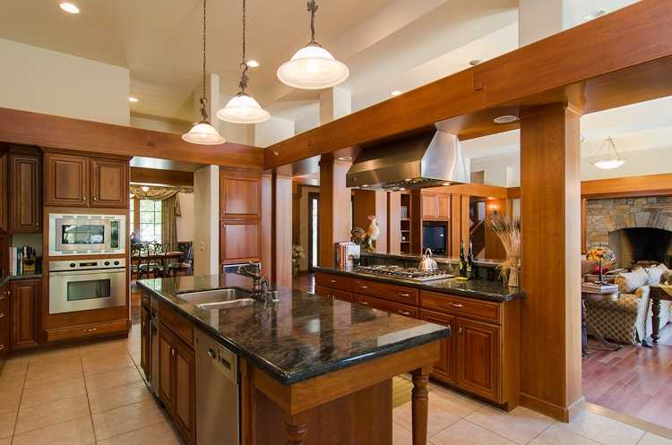 The kitchen area features this island.