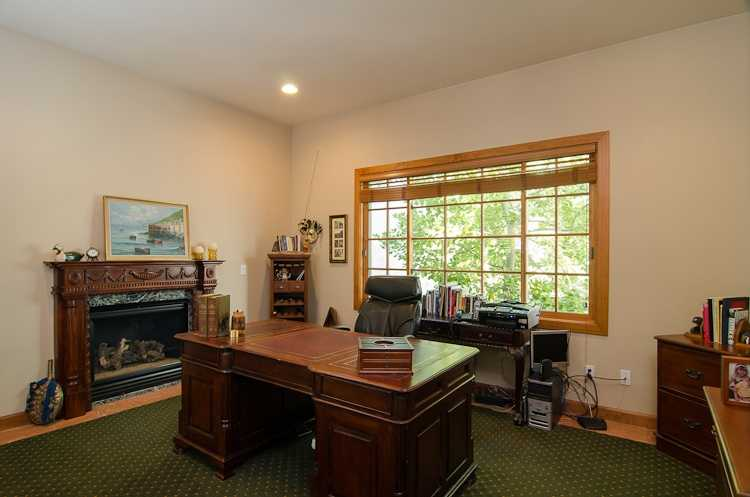 This office also has a fireplace.