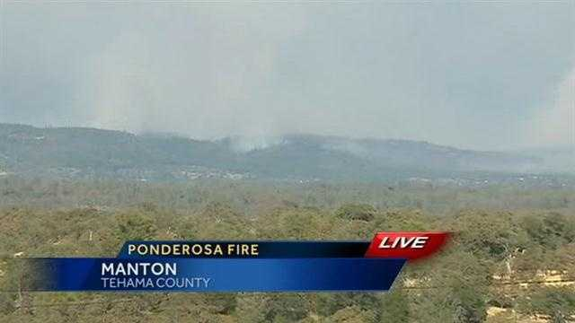 A fire known as the Ponderosa Fire burns in Shasta and Tehama Counties, threatening 3,500 homes and is 0% contained.