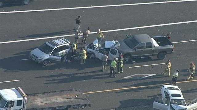 A four-car crash in Folsom near Prairie City Road snarled traffic on Highway 50 during Monday's evening commute.