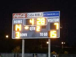 Casa Roble led its home-opener vs. Rio at halftime, 14-7. The team ended up winning -- final score 28-20.
