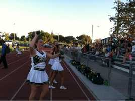Rio cheerleaders lob the balls out to their sections, as well.