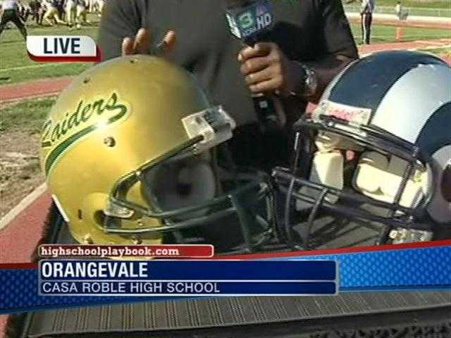 A screen shot from a KCRA evening show, advancing the Game of the Week.