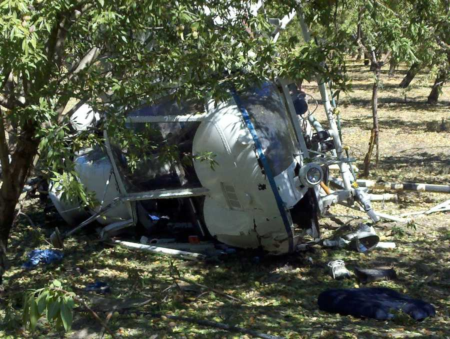 A crop duster-like helicopter crashed in a rural part of Escalon on Monday morning, officials said.