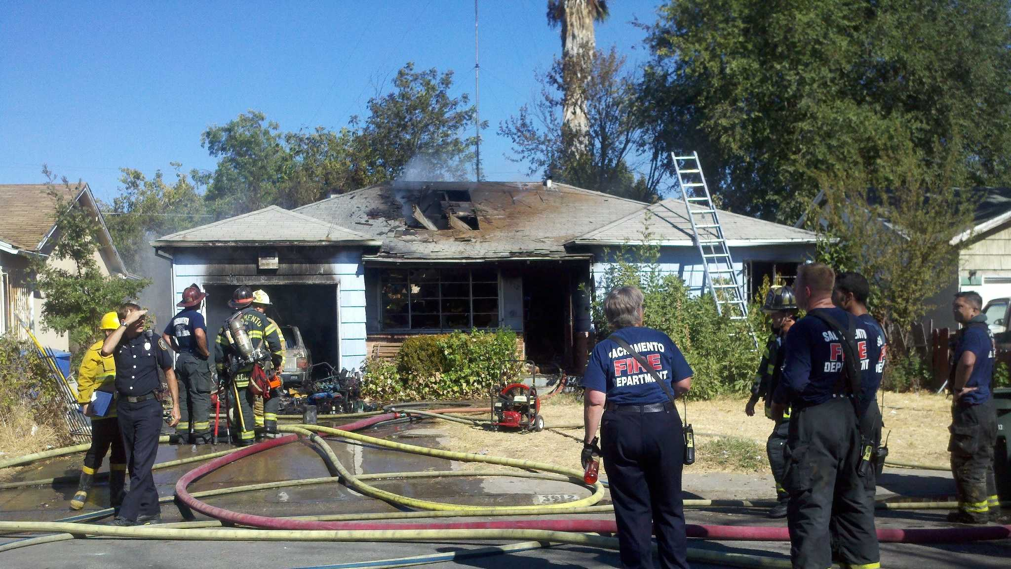 Sacramento firefighters worked a house fire in Sacramento area of Del Paso Heights on Wednesday.